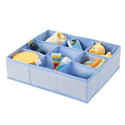 mDesign Aufbewahrungsbox für das Kinderzimmer, Bad usw. - Kinderzimmer Aufbewahrungsbox mit neun Fächern - Kinderschrank Organizer aus Kunstfaser - blau mit Fischgrätenmuster -