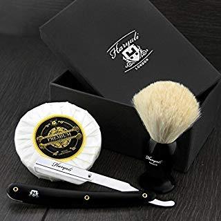 Haryali London - Élégant ensemble de rasage assemblé à la main, constitué d'un blaireau à poils blancs, d'un rasoir à lame repliable, d'un savon à barbe et d'un lot de lames de rasoir