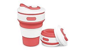 ROCONTRIP Plegable Taza, Plegado de café Taza de Viaje de Silicona a Prueba de Fugas Taza Regalo Taza 350 ML 100% de Calidad alimentaria sin BPA para Camping Senderismo