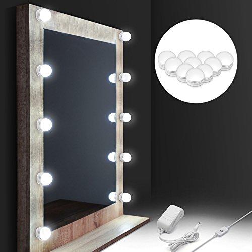 LED Spiegelleuchte, Auledio Schminktisch Beleuchtung 10 dimmbare Spiegellampe 4000K Weiß Schminklicht Hollywood-Stil Kit IP65...