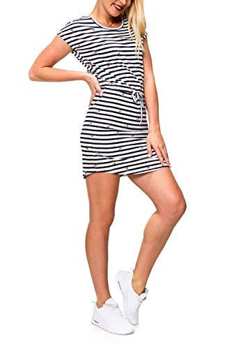 ONLY Damen Jerseykleid Freizeitkleid Sommerkleid Shirtkleid Print (L, Cloud Dancer/Cherry Stripe) -