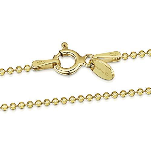 Amberta 925 Sterlingsilber Vergoldet 18K Damen-Halskette - Diamantierte Kugelkette - 1.2 mm Breite - Verschiedene Längen: 40 45 50 55 60 cm (70cm)
