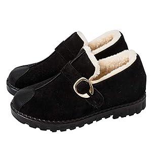Winter Snow Boots Female High To Help Thickening Plus Velvet Lazy Boots Wild Flat Bottom Suede Schuhe Non-Slip, Warm, Red, Black, Brown