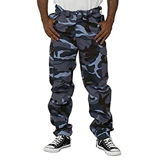 AEROTEC Men's Combat Trousers - Blue Camouflage Cargo Pockets Adjustable Waist PEVCOMBATBLUE-36W-31L
