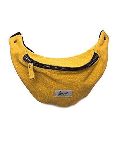 Riñonera amarilla muy cómoda con cremallera