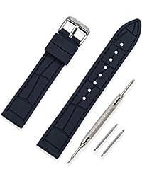 bb8b5f0b8a0b Vinband Correa Reloj Calidad Alta Recambios Correa Relojes Caucho Puntada  Negro - 20mm