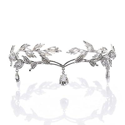 Crystal Headpiece Beaded Forehead Band Crystal Rhinestones Wedding Head Band Bridal Hair Accessorie Headpieces Silver from OULII