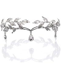 OULII Regalo del día de novia Vintage cristal perla diadema novia pelo accesorios boda favores de San Valentín