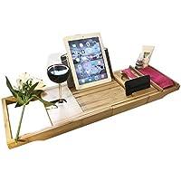 Bambú bañera Caddy ajustable Spa bandeja con multiposición soporte de libro y soporte de cristal por Dryzem