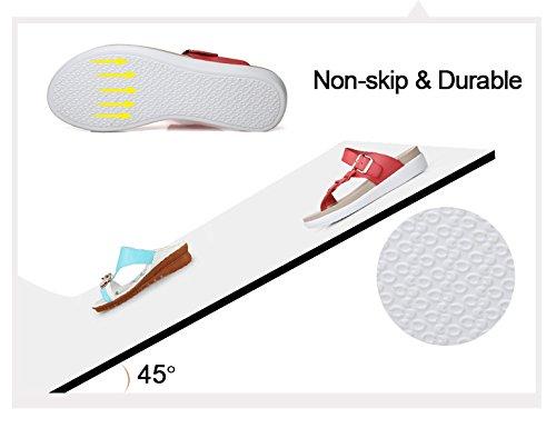 NiNE CiF Mädchen Damen Zehentrenner Strick Flip Flops Sommer Hausschuhe Weiß