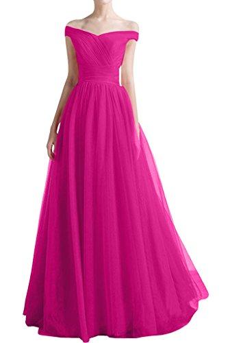 ivyd ressing Femme à partir de la épaules A ligne V de la découpe Prom robe robe de bal robe du soir - Fuchsia