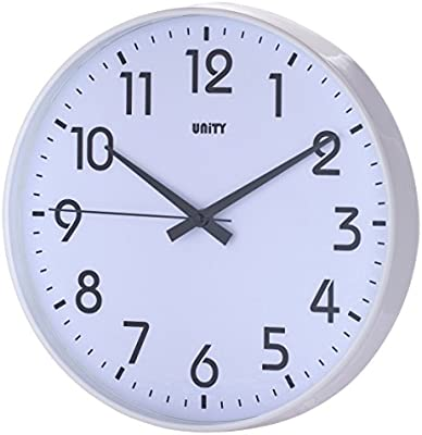 Unity Fradley - Reloj de pared silencioso, 30 cm, color blanco
