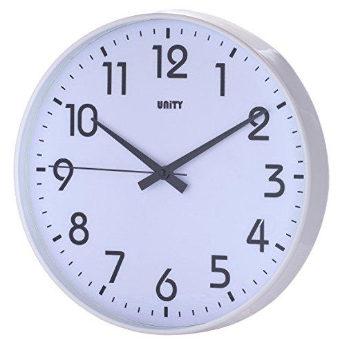 Unity Fradley - Reloj de pared silencioso, moderno, 30 x 30 x 5 cm, color blanco