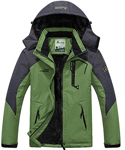 YIRUIRA Herren Stehkragen Softshelljacke Windschutz Jacket gefütterte Regenjacke mit Fleece Grün Größe M (Herstellergröße : CN 2XL)