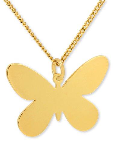 Schmetterling Vergoldet Halskette-44,5cm Vergoldete Kette-NanoStyle Jewelry - Geätzte Finish