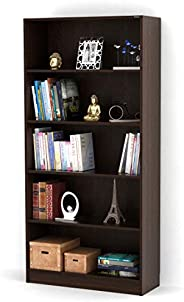 Bluewud Alex Wall Book Shelf/Home Decor Display & Storage Rack Cabinet Unit (Wenge, 5 Shel