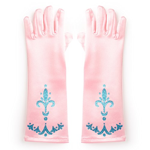 Katara 1098 - Prinzessin Elsa Handschuhe Party Fieber Kleid / Mädchen Kostüm Verkleidung Fasching Karneval, - Rosa Kostüm Handschuhe