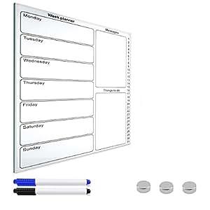 navaris magnettafel wochenplaner whiteboard aus glas. Black Bedroom Furniture Sets. Home Design Ideas