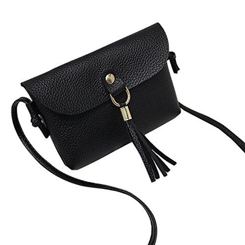 Schultertasche Damen, Sunday Mode in der Lage Tasche Vintage Handtasche Kleine Mini Messenger Tassel 17CM (17CM, Schwarz) (Schwarze Kalbsleder Tote)