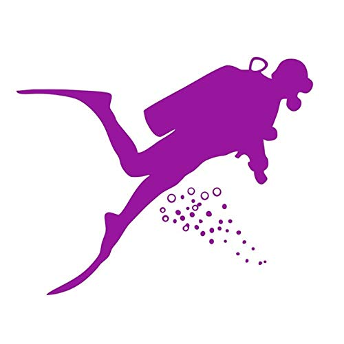 HNXDP Underwater Sports Silhouette Sticker Plongeur Plongée Sous-Marine Stickers Muraux Bricolage Adhésif Amovible Décor À La Maison Enfants Chambre Violet 59 cm X 47 cm