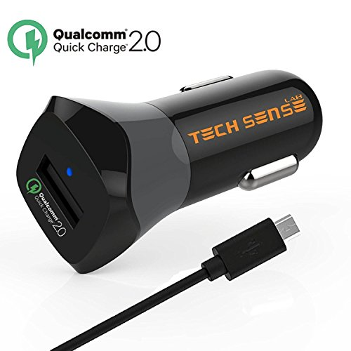 Qualcomm® Certified Quick Charge 2.0 Car Charger By Tech Sense Lab®, Intelli Sense 5V/2.4A & QC 2.0 12V/9V/5V For Samsung Galaxy S6/S6 Edge/Note 4, Note Edge, HTC One M8/M9/Butterfly 2,Sony Xperia Z2/Z2 Tablet/ Z3/Z3 Tablet/Z4 (Z3+), Nexus 5/6, LG G2 Flex/G4 + Micro USB Cable Included, Backward Compatible With All Other Smartphones and iPhone