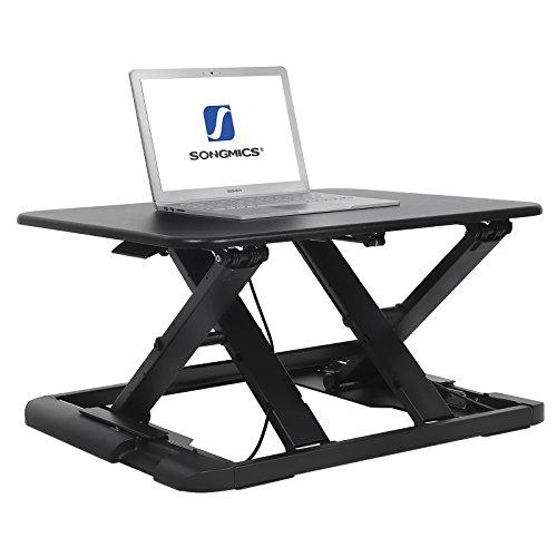 Sitz-stehtisch (SONGMICS Sitz-Steh-Schreibtisch Steharbeitsplatz Monitorständer Laptop-Ständer, höhenverstellbar zwischen 5,8 - 43 cm schwarz LSD04B)