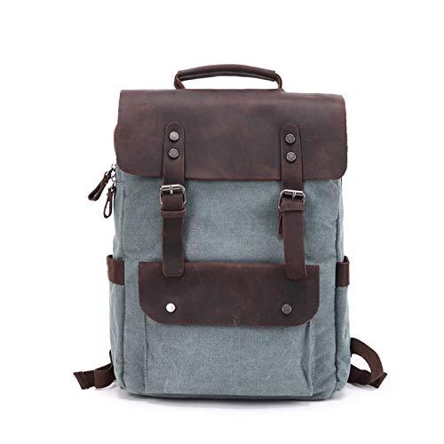 Leder Rucksäcke Herren, Canvas Rucksack Vintage Daypacks Große Kapazität 15,6 zoll laptop Tagesrucksack für Uni Büro Sportrucksack Reisetasche,Blassgrün