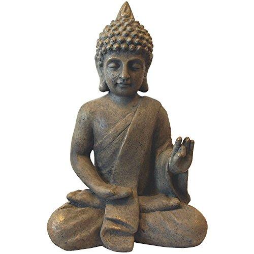 Deko Buddha sitzend H53cm Dekofigur Gartenfigur Steinfigur Skulptur Statue Buddhafigur Gartendekoration Buddhismus