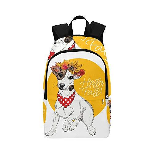 Vektor-Porträt von Jack Russel Terrier Dog Casual Daypack Reisetasche College School Backpack für Herren und Frauen