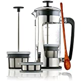 Espro Press P5 With Coffee Filter (3-4 Cups, 18 Oz) Bundle With Spoon, French Press Style Coffee Maker, Stainless Steel Cage, Carafe With Safety Lock (With Coffee Filter, 32 Oz)