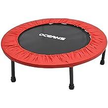Ocean5 Easy Jump 100 Fitness-Trampolin mit Randabdeckung, Minitrampolin 82 - 90 cm Ø, Gesundheitstrampolin bis 120 kg belastbar