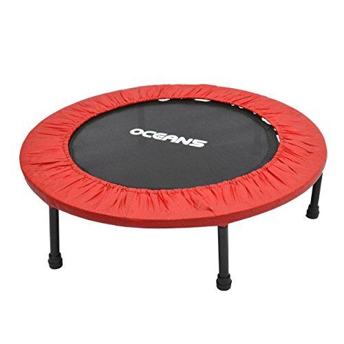 Ocean5 Easy Jump 100 Fitness-Trampolin mit Randabdeckung, Minitrampolin 82 cm Ø, Gesundheitstrampolin bis 120 kg belastbar, Farbe: rot