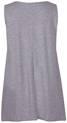 Femmes Sans Manches Femme Extensible froncé Col Rond Uneven Ourlet Gilet Long T-Shirt Top Gris Clair