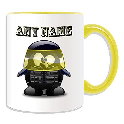 Personalisiertes Geschenk–Explosion Proof Police Tasse (Pinguin in Kostüm Design Thema, Farbe Optionen)–alle Nachricht/Name auf Ihre einzigartige–Schusswaffen Einheit Polizist, keramik, ()