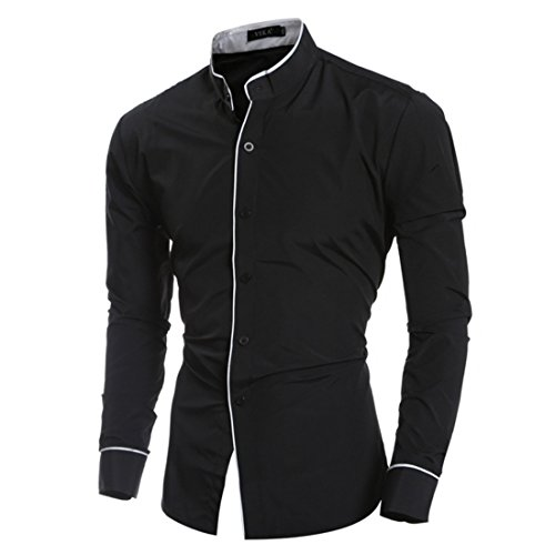 Men's Leisure Stand Collar Personalized Long Sleeve Shirts Black