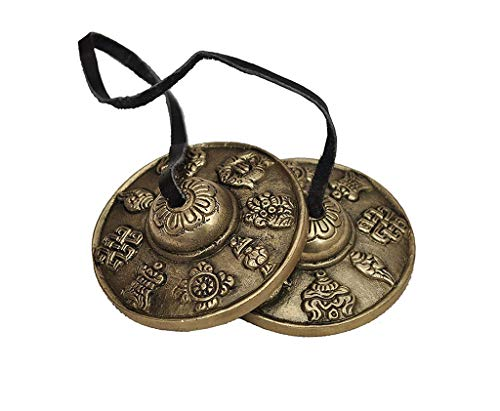 WGE Tibetische Handzimbeln Buddhistisches glückliches Symbol geprägtes Meditations-Yoga-Glockenspiel