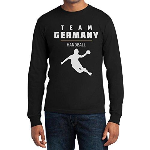 Team Germany Handball Fan Shirt Olympische Spiele Langarm T-Shirt Large Schwarz