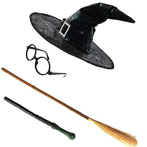 HLCE Damen Erwachsene Halloween Fancy Party Hut mit Hut Flanell Haken Hexe Hüte Gläser Besen Zauberstäbe