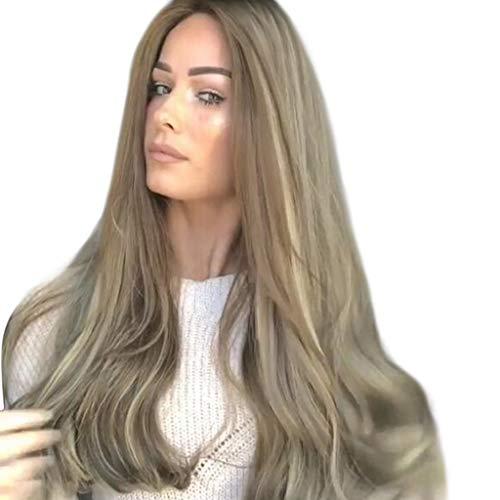 Perruques Complètes Pour Femmes Mode Synthétique Longue Ondulée Teinture Naturelle wiwigs 25.6 pouces/65 cm Madame Cheveux Raides Qualite