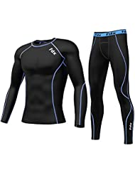 Fdx Mens Compresión Armour Base Layer Top Skin Fit + Polaina de compresión, color negro y azul, tamaño large