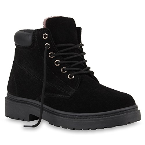 Damen Stiefeletten Outdoor Boots Warm Echtleder Gefütterte Stiefel Schwarz