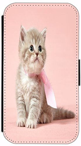 Flip Cover für Apple iPhone 6 / 6S (4,7 Zoll) Design 442 Katze auf Rücken Braun Blau Hülle aus Kunst-Leder Handytasche Etui Schutzhülle Case Wallet Buchflip mit Bild (442) 441