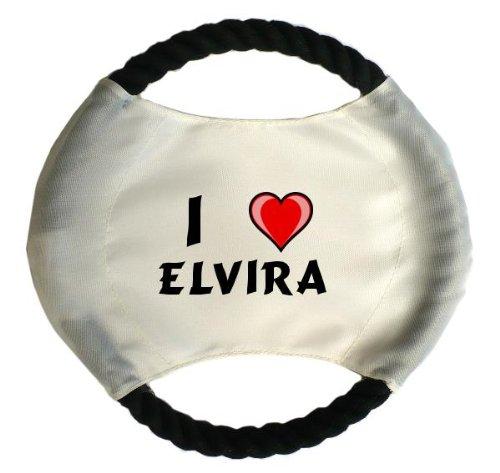 Personalisierter Hundefrisbee mit Aufschrift Ich liebe Elvira (Vorname/Zuname/Spitzname)
