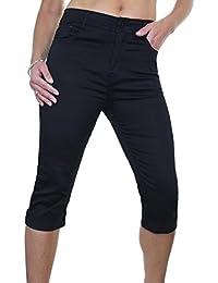 ICE (1511-1) Pantacourt en Jeans Extensible Brillant à Revers Noir