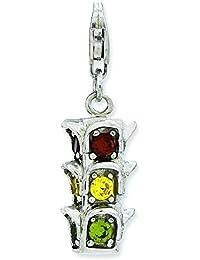 Plata de ley 3-D CZ semáforos con broche de langosta encanto - JewelryWeb