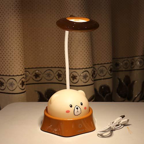 Nuevo oso con luz de noche de colores Lámpara de escritorio con protección ocular LED Aprendizaje del estudiante Atenuación táctil Lectura Lámpara de escritorio con carga USB 8819 Marrón 14 * 12 * 40