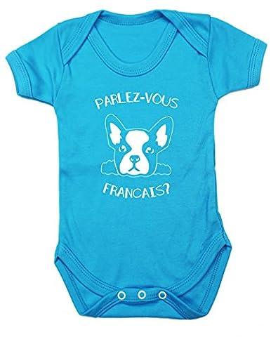 Hippowarehouse Parlezvous Francias? Cute French Bulldog baby vest bodysuit (short sleeve) boys