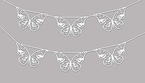 1x Girlande Hochzeit EinsSein® Schmetterling weiss schimmernd Dekoration Party