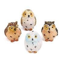 Cupcinu 4 PCS Fairy Garden Accessories Cute Owl Figurines Fairy Garden Animals Miniature Garden Tool For DIY Dollhouse Home Decoration (Random color)