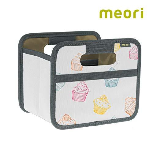 meori Faltbox Mini Bunt/Cupcake 16,5x12,5x14cm abwischbar stabil Polyester Schreibtisch Badezimmer Flur Staubox Stifte Accessoires Aufbewahren
